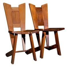 Pair Of Pine Arts & Crafts Hall Chairs  England, 1910