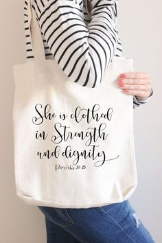 Christian Tote, She is clothed in Strength, Tote bag, Proverbs 31, Gift for her, Wedding Gift, Mom gifts, Scripture Tote, Calligraphy Tote by…