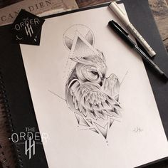 Geometric Tattoo - Neo Traditional Owl Sketch - The Order - Geometric . - Geometric Tattoo – Neo Traditional Owl Sketch – The Order – Geometric Tattoo – Neo Traditio - Owl Tattoo Drawings, Tattoo Sketches, Tattoo Owl, Neo Traditional, Traditional Tattoo, American Traditional, Owl Tattoo Design, Tattoo Designs, Tattoo Ideas