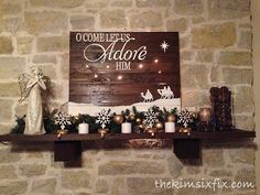 Oh come let us adore him.. illuminated pallet art