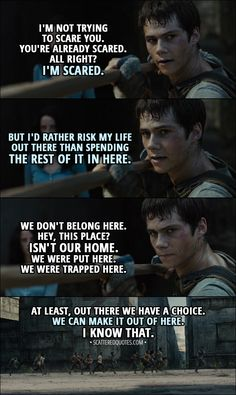 Quote from The Maze Runner (2014) │ Thomas: I'm not trying to scare you. You're already scared. All right? I'm scared. But I'd rather risk my life out there than spending the rest of it in here. We don't belong here. Hey, this place? Isn't our home. We were put here. We were trapped here. At least, out there we have a choice. We can make it out of here. I know that. │ #MazeRunner #Thomas #Quotes