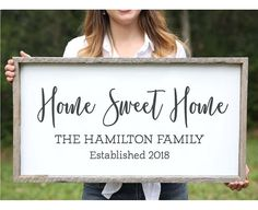 Wedding Gift for Couple Home Sweet Home Farmhouse Wood Sign Family Name Signs Custom Name Sign Established Signs Personalized Name Sign - Knot & Nest's farmhouse signs are handmade in our wood shop in Florida and can be customized in A - Family Wood Signs, Family Name Signs, Wooden Signs, Family Names, Diy Signs, Home Signs, Wall Signs, Wood Signs For Home, Wall Plaques