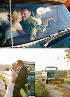 Wedding Poses love the truck but our black one will be cooler fun pic ideas - Rustic Wisconsin Wedding where everything was pretty much made by the bride and groom. Wedding Photo Pictures, Engagement Pictures, Engagement Shoots, Wedding Engagement, Wedding Photography Poses, Wedding Poses, Wedding Ideas, Photography Ideas, White Photography