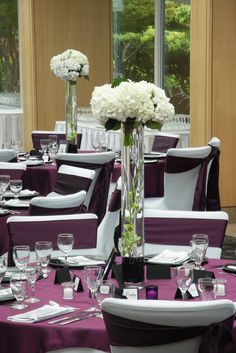 eggplant wedding table decor themed wedding #eggplant #sashes #flowers #chaircovers #tablerunner #white #spring #hotcolors #favorites visit is at www.chaircoverfacory.com