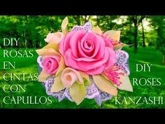 DIY rosas con capullos en flor en cintas - roses with blooming flowers in ribbons - YouTube