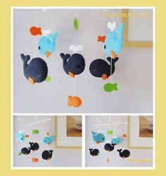 Whale Mobile - Baby Mobile - Nursery Mobile - Baby Room Decor - Navy Blue Whale family and orange lime green fish (Custom Color Available)