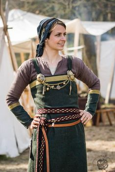 """Viking apron dress, with nice """"earthy"""" colours. https://www.facebook.com/pages/valgred/143670462365403?fref=photo"""