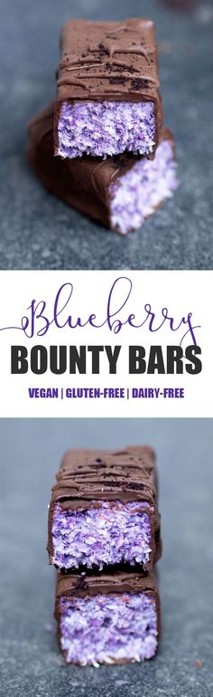 Blueberry Bounty Bars #vegan #glutenfree #blueberry #coconut #bounty #bars #chocolate #candy #healthy #dairyfree #blueberrypowder #treat #snack #dessert #nobake #nutfree #paleo #purple #blue