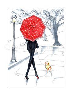 Red and Black Fashion Illustration Art Print by JoanaMirandaStudio