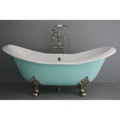 @Overstock.com - Penhaglion The Dunstable 72-inch Cast Iron Double Slipper Bathtub - Add modern style with a hint of Victorian to your bathroom with this double slipper bathtub in an aqueduct blue exterior and white enamel interior. http://www.overstock.com/Home-Garden/Penhaglion-The-Dunstable-72-inch-Cast-Iron-Double-Slipper-Bathtub/7873109/product.html?CID=214117 $2,899.99