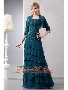 Teal Turquoise Column Strapless Beading Mother Of The Bride Dress Floor-length Chiffon    http://www.fashionos.com  http://www.facebook.com/quinceaneradress.fashionos.us   This prom dress is the most economic while gorgeous one. It includes a long sleeves jacket and a dress that made from stunning chiffon fabric with a heavily embellished bodice where appliques and beadings spread everywhere in the top.