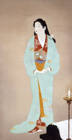 Uemura Shōen from wikipedia: Uemura Shōen was the pseudonym of an important woman artist in Meiji, Taishō and early Shōwa period Japanese painting. Her real name was Uemura Tsune Geisha, Japanese Illustration, Art Japonais, Japanese Painting, Japanese Prints, Japan Art, Japanese Culture, Woodblock Print, Ikebana