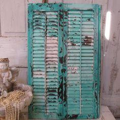Wooden shutter hand painted aqua sea foam blue by AnitaSperoDesign, $85.00