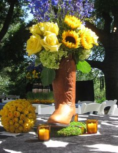 Cowboy Boot Centerpiece. Who needs a vase when you have a cowboy boot?!