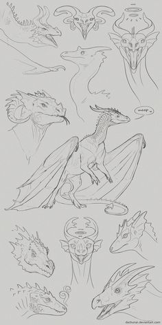 dschunai on Deviantart Animal Sketches, Animal Drawings, Art Drawings, Creature Concept Art, Creature Design, Dragon Artwork, Cool Dragon Drawings, Dragon Poses, Dragon Anatomy
