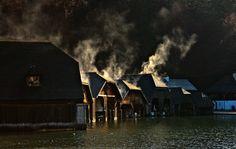Die Bootsgaragen an der Seelände Königssee