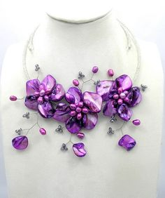 bridesmaid gifts,Bead Necklace,Beaded Jewelry,Pearl Necklace,flower necklace With Purple Pearl Mother of Pearl Shell Crystal Glass. $18,00, via Etsy.