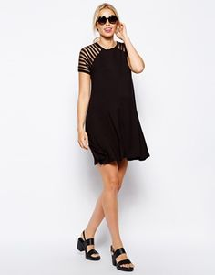 Image 4 ofASOS Maternity Swing Dress With Stripe Sheer Sleeve