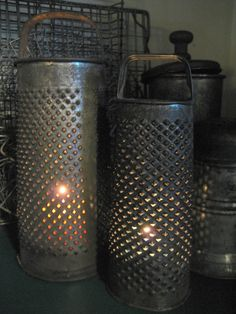 rustic farmhouse decor | Rustic, Primitive Decor by andrew...battery operated lights.candles inside grater (....cr...more graters to be pretty at Christmastime)