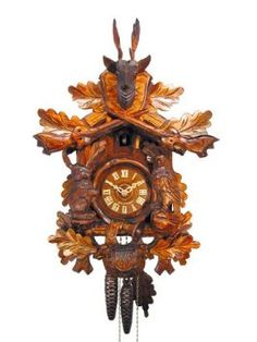 Amazon.com: German Cuckoo Clock 1-day-movement Carved-Style 18 inch - Authentic black forest cuckoo clock by August Schwer: Home & Kitchen
