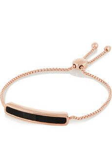 Monica Vinader Baja rose gold-plated onyx bracelet   NET-A-PORTER