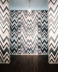 Retail Store Design Photo - A flame-stitch wall pattern