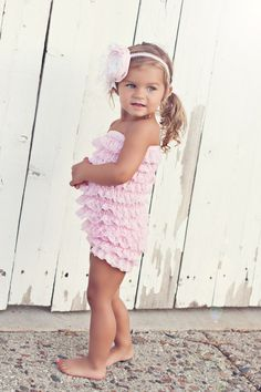 baby pink lace petti romper with headband set by PrettyPetalsHair