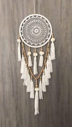26.5cm Boho Crochet Web Dream Catcher White/Cream Pom Poms Tassels & Wood Beads in Home & Garden, Home Décor, Other Home Décor | eBay!