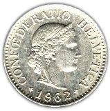 10 Rappen #Svizzera - 1879 Attualmente in corso,ritrae il simbolo della Libertà.