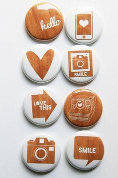 Woodgrain 2 Flair Buttons
