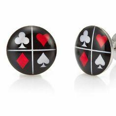 R&B Bijoux - Boucles d'Oreilles Homme - Clous Casino - Cartes Poker Porte Chance - Acier Inoxydable (Noir, Rouge, Blanc). 11,50€
