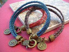 Braided Leather Bracelet with Initial by UrbanSurvivalGearUSA