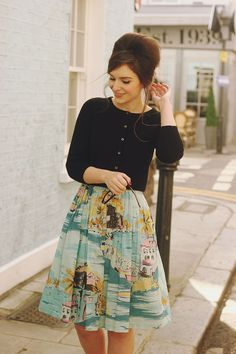 Retro-style sundress (Nancy is the name of the dress) & sweater from…