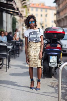 cool girl chic - printed pencil skirt, ankle strap heels, tee, shades, loose hair
