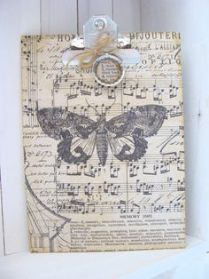 Altered Clipboard Vintage Inspired Moth Butterfly by ShabbySoul, $12.00