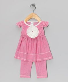 Take a look at this Fuchsia Stripe Rosette Tunic & Leggings - Infant, Toddler & Girls by Freckles + Kitty on #zulily today!
