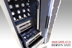 The Man Safe 6018. Its commanding presence and larger capacity is the preferred choice for the serious watch collector, and for those whose needs demand a full size high-security luxury safe.