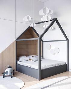 A decoração minimalista da arquiteta Kate Sarakula não impediu que este quarto infantil se tornasse um espaço acolhedor e delicado para as crianças! Que tal?