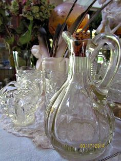 """Just a few simple """"whites"""" and clear Depression glass to share with you as I look towards the corner of my living room! Art Nouveau, Art Deco, Different Kinds Of Art, Egyptian Art, Vinegar, Jewelry Art, Glass Art, Simple, Ancient Art"""
