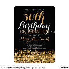 Elegant 30th Birthday Party Sparkles Gold 5x7 Paper Invitation Card