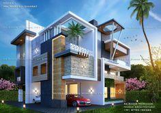 3 Storey House Design, Duplex House Design, House Front Design, Landscape Architecture Design, Modern Architecture House, Sustainable Architecture, Bungalow Haus Design, Modern Bungalow Exterior, Modern Small House Design