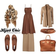 Hijab style inspiration: beige skirt style, created by fashion4arab on Polyvore