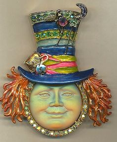 8) Mad Hatter Seaview Moon Pin  http://KirksFollyStore.com/pins-and-brooches/