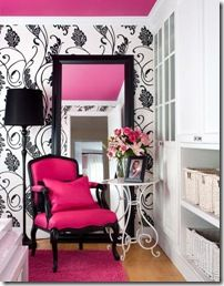 hot! love the pink ceiling & wallpaper.. could be cute for a girls room.