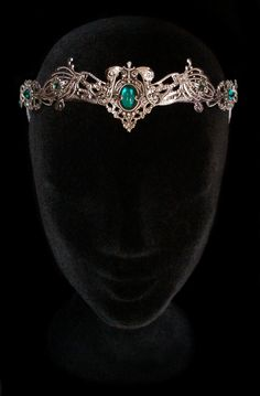 Elven Medieval Crown Headdress Tiara Circlet Nymph Dryad Green Emerald Wiccan Fairy Elvish Queen Hair Jewellery Wedding Bridal