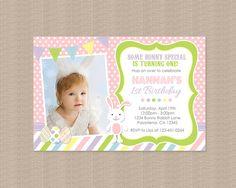 Rabbit Birthday Party Invitation  Bunny Rabbit by Honeyprint