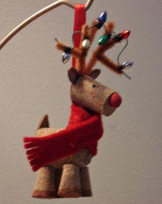 Cork Reindeer with Christmas Lights, Etsy
