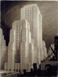 A drawing by the brilliant architectural renderer and delineator Hugh Ferriss (1889-1962).