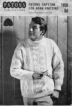 "mens aran knitting pattern pdf mens aran sweater polo neck cable jumper vintage 50s 40-44"" aran worsted 10ply pdf instant download by Hobohooks on Etsy"