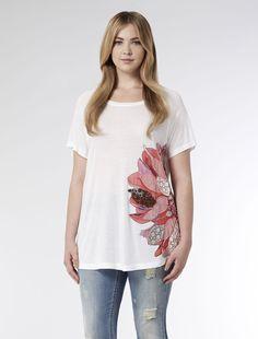 Marina Rinaldi VERIDICO white: Jersey t shirt with lace and beads.